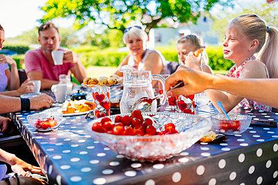 Family having meal in garden - p312m974890f by Bjorn Dahlgren