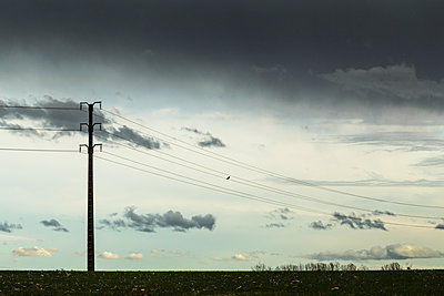 High-tension lines at twigliht - p910m1467717 by Philippe Lesprit