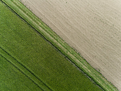 Aerial View from two different Fields Drone photography - p590m2191527 by Philippe Dureuil