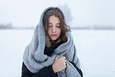 Young woman with a scarf - p1646m2245080 by Slava Chistyakov