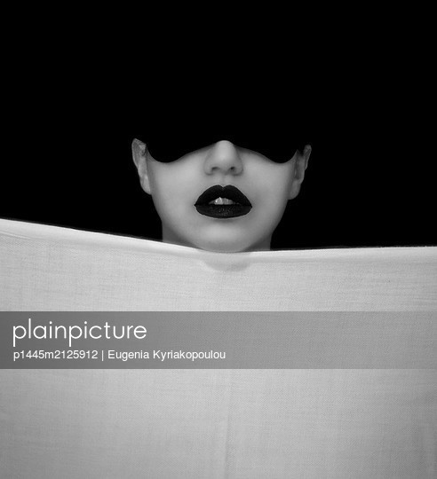 Woman with sleeping mask - p1445m2125912 by Eugenia Kyriakopoulou