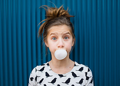 Girl Blowing Bubble - p1503m2020405 by Deb Schwedhelm