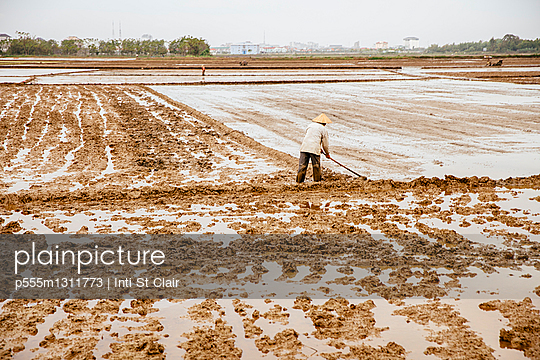 Farmer working in rural rice fields - p555m1311773 by Inti St Clair photography