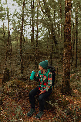 Hiker drinking, enjoying forest, Queenstown, Canterbury, New Zealand - p924m2098293 by Peter Amend