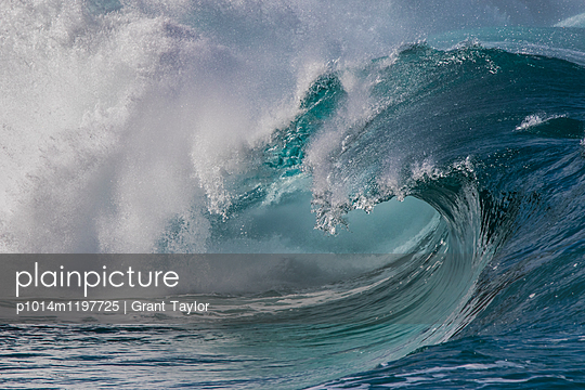 A closeup of a shore break wave at Waimea bay on the North Shore, Oahu. - p1014m1197725 by Grant Taylor