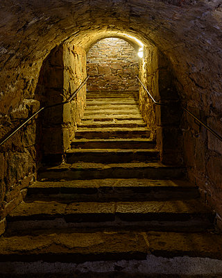 Stairs in fortress, Blekinge, Sweden - p312m927260f by Mikael Svensson