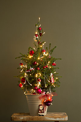 Kleiner Weihnachtsbaum mit roten Kugeln und Dekoration und Lichterkette vor brauner Wand. - p948m2134939 von Sibylle Pietrek