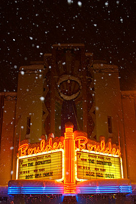 The Boulder Theater on winter night Boulder - p3433833 by Celin Serbo