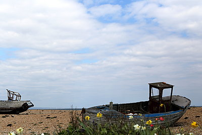 Abandoned shipwrecks on beach - p1063m1134984 by Ekaterina Vasilyeva