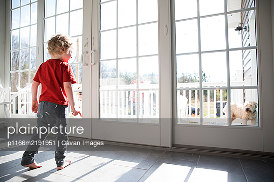 Toddler Boy Looks Out Large Sliding Glass Door at Dog on Deck - p1166m2191951 by Cavan Images