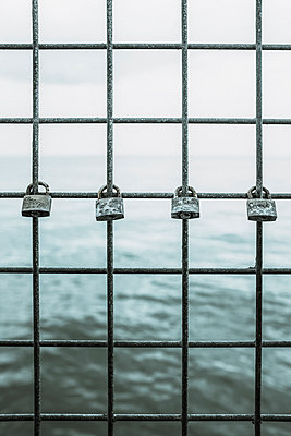Four padlocks on a metal fence - p1228m1123034 by Benjamin Harte