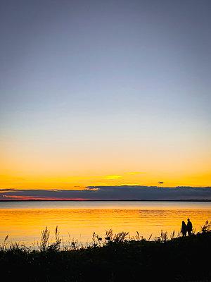 Evening walk on the beach - p382m2284008 by Anna Matzen