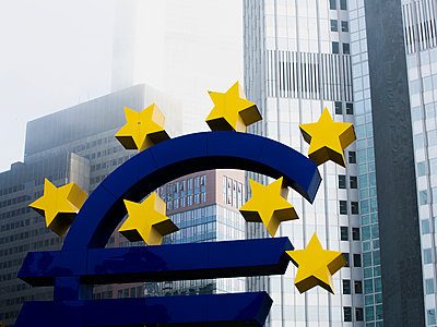 Euro Symbol in Frankfurt - p801m2257679 by Robert Pola