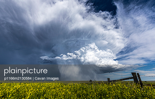 Huge with clouds over green field and farm fance - p1166m2130584 by Cavan Images