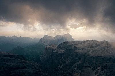 Sunset on the mountain Piz Boè - p470m2064975 by Ingrid Michel