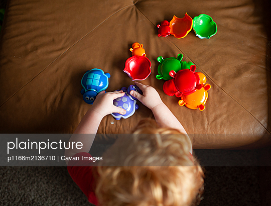 Overhead view of toddler boy playing with toy turtles at home - p1166m2136710 by Cavan Images