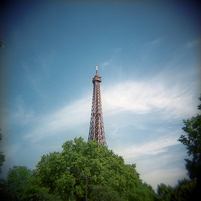 View of the Eiffel Tower rising above the tree line within the Champ de Mars - p1072m829211 by Neville Mountford-hoare
