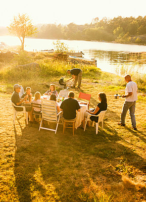 A picnic a summer night Sweden. - p31221124f by Susanne Walstrom