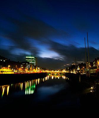 River Liffey at night, Dublin, Ireland - p4425395f by Design Pics