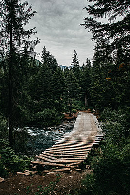 Alaska, Wooden bridge over whitewater - p1455m2204769 by Ingmar Wein