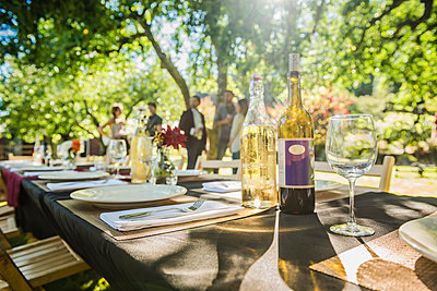 Wine bottles on table at party outdoors - p555m1532578 by Spaces Images