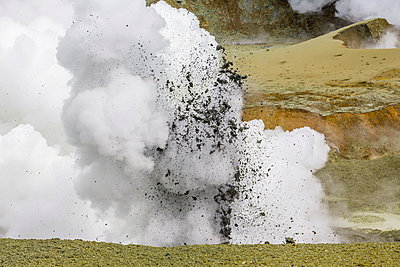 Mud being ejected from the caldera floor of an active andesite stratovolcano on White Island - p871m884401 by Michael Nolan
