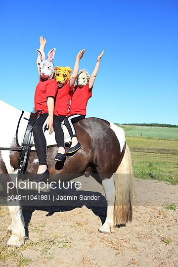 Hase, Tiger und Esel auf einem Pferd - p045m1041981 von Jasmin Sander