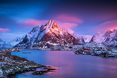 Dawn Sky over Reine, Lofoten Islands, Norway - p651m2033181 by Tom Mackie