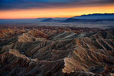 Borrego Badlands at sunset - p1154m1217574 by Tom Hogan