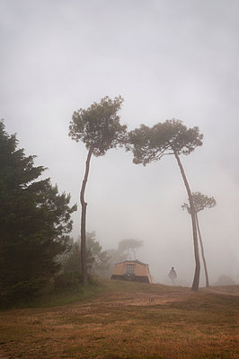 Foggy campground in Brittany - p470m2082293 by Ingrid Michel
