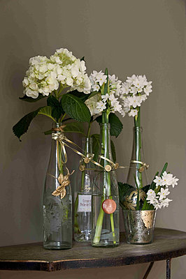 Flower display on a side table - p349m790789 by Polly Eltes