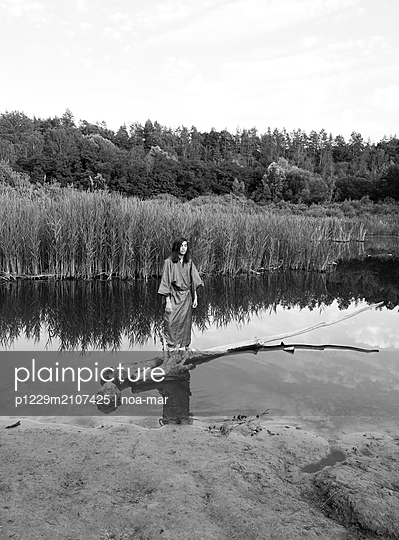 Woman in kimono at the lake - p1229m2107425 by noa-mar