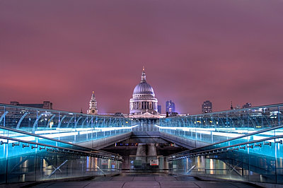 View of St Pauls Cathedral over River Thames from the Millennium Bridge - p1072m2151274 by Neville Mountford-Hoare
