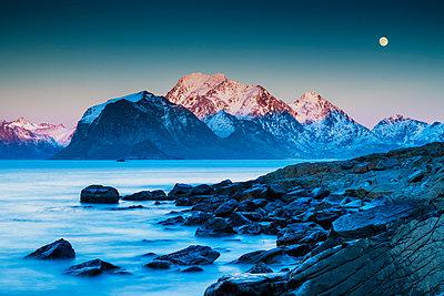 Full Moon over Offersoykammen, Lofoten Islands, Norway - p651m2033205 by Tom Mackie