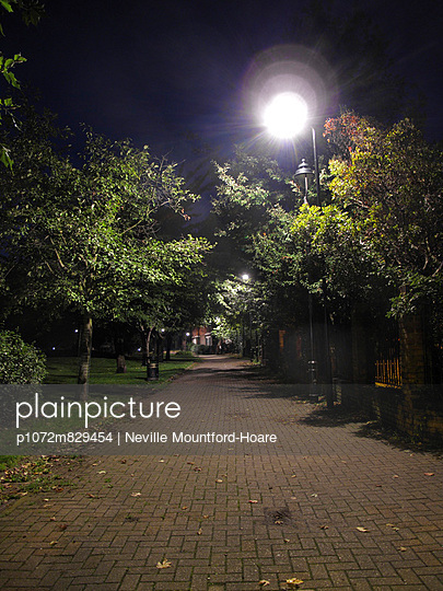 Illuminated path at night - p1072m829454 by Neville Mountford-Hoare