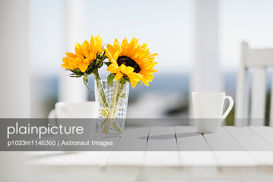 Vase of flowers and coffee cups on kitchen table - p1023m1146360 by Astronaut Images