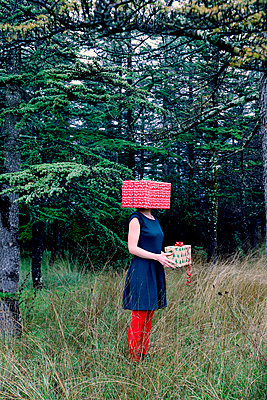 Woman with a gift package on her head  - p1521m2141334 by Charlotte Zobel