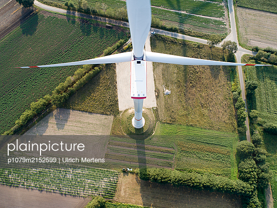 Wind farm from above - p1079m2152599 by Ulrich Mertens