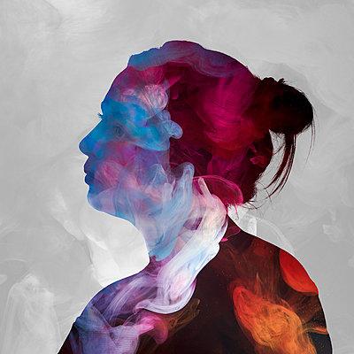 Woman among wads of smoke - p1652m2230679 by Callum Ollason