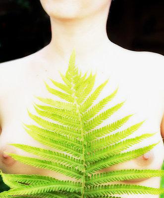 Woman with fern - p4760127 by Ilona Wellmann