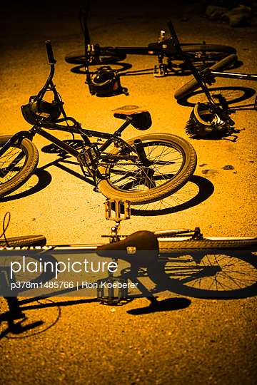 Bicycles on the ground