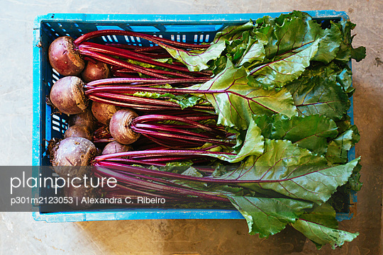 View from above organic beets and beetroot in crate - p301m2123053 by Alexandra C. Ribeiro