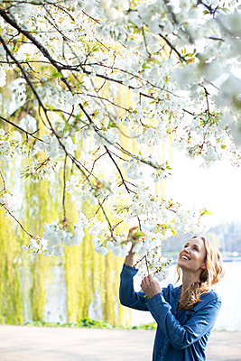 Woman looking at a cherry tree - p1678m2258822 by vey Fotoproduction