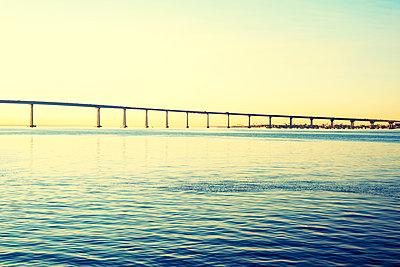 San Diego Harbor, Coronado Bridge - p1436m1496824 by Joseph S. Giacalone