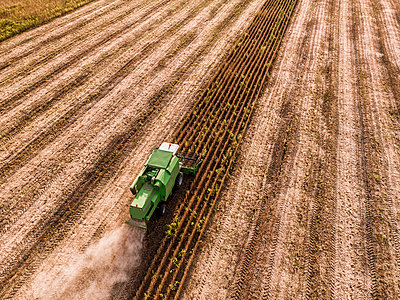 Serbia, Vojvodina, Combine harvester on a wheat, aerial view - p300m1568349 by oticki