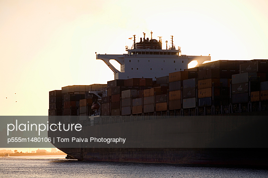 Containers on container ship - p555m1480106 by Tom Paiva Photography