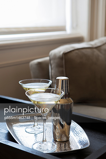 Martinis on tray in modern living room