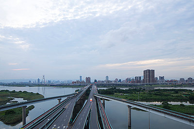Elevated highways and river, Taipei, Taiwan, China - p429m974635 by Jasper James