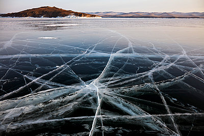 Lake Baikal in winter ice, Siberia, Russia - p871m2111472 by Rudi Sebastian