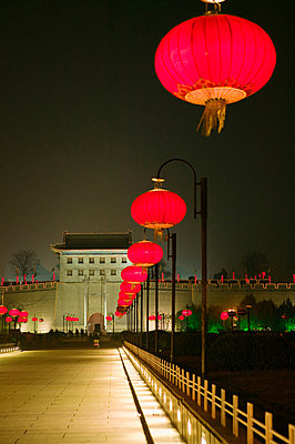 Old town gate in xian - p9246140f by Image Source